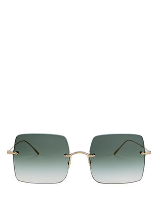 Oishe Rimless Square Sunglasses, GREEN, hi-res