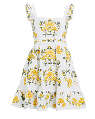 Herbarium Embroidered Linen Dress, WHITE/YELLOW, hi-res
