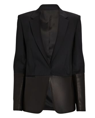Leather Combo Blazer, BLACK, hi-res