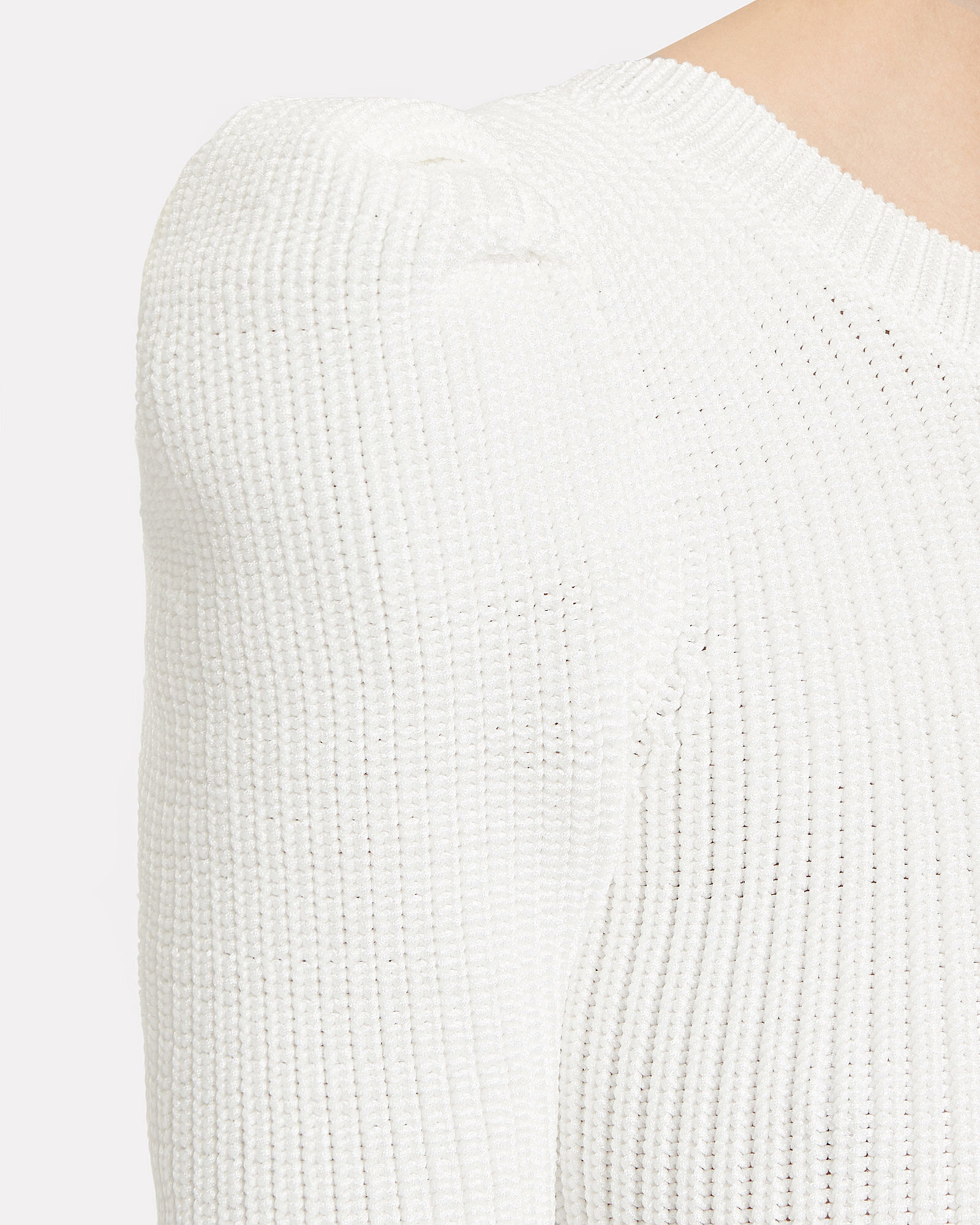 Pleated Sleeve Knit Crop Top, WHITE, hi-res