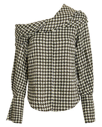 Calla Draped Houndstooth Top, BLACK/WHITE/YELLOW, hi-res