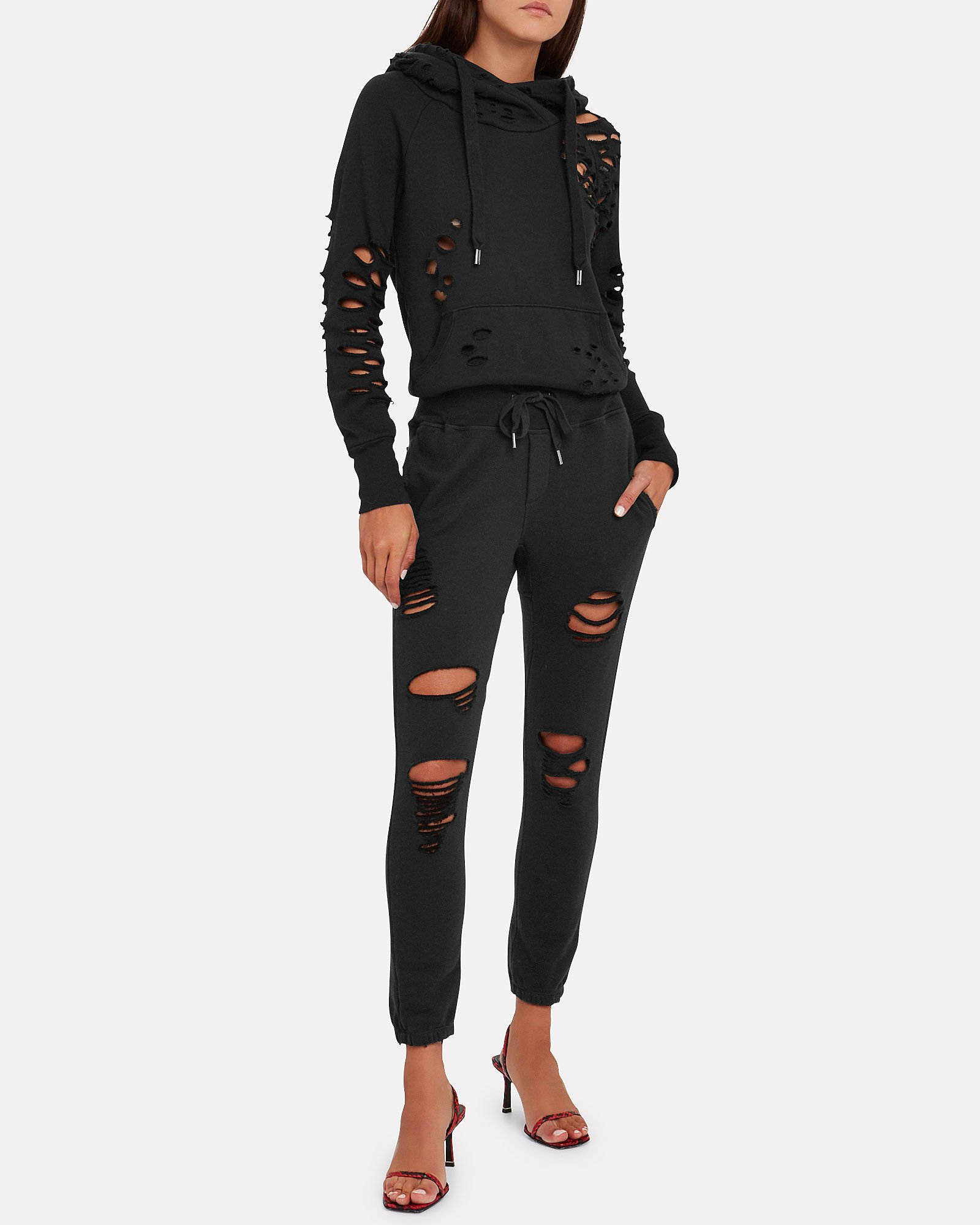 Lisse Distressed French Terry Hoodie, BLACK, hi-res
