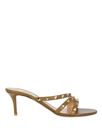 Rockstud Curved Leather Slide Sandals, OLIVE, hi-res