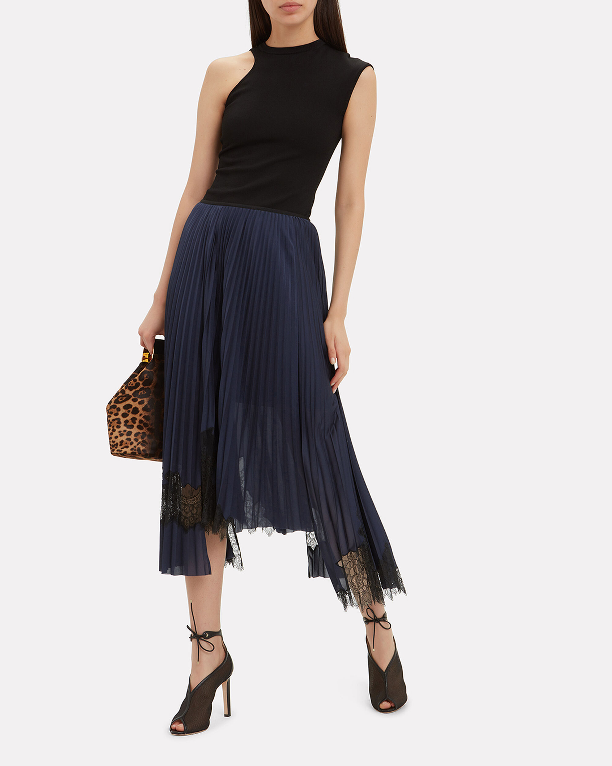 Lace-Trimmed Pleated Skirt, NAVY, hi-res