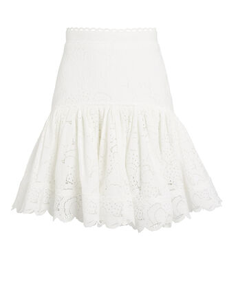 Cookes Lace Flounce Mini Skirt, WHITE, hi-res