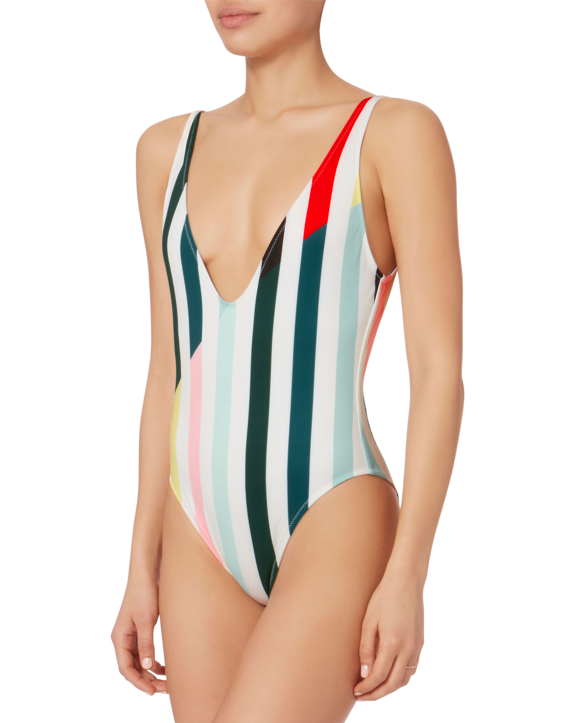 Michelle Deep-V Striped One Piece Swimsuit, PATTERN, hi-res