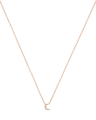 Diamond Moon Choker Necklace, ROSE GOLD, hi-res
