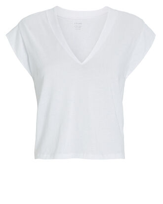 Le High Rise V-Neck Cotton T-Shirt, WHITE, hi-res