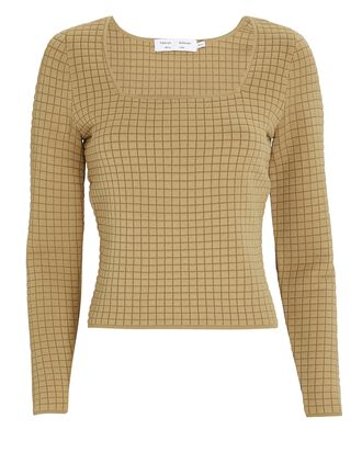 Square Neck Quilted Knit Top, BEIGE, hi-res
