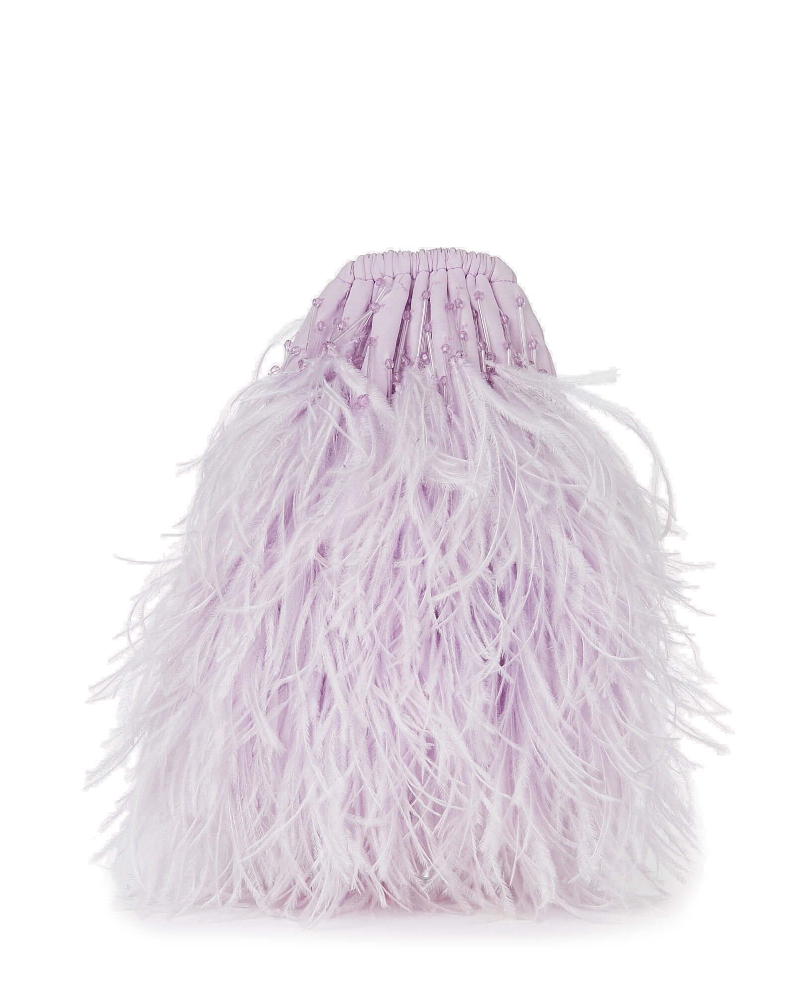Feather-Trimmed Drawstring Pouch, LILAC, hi-res