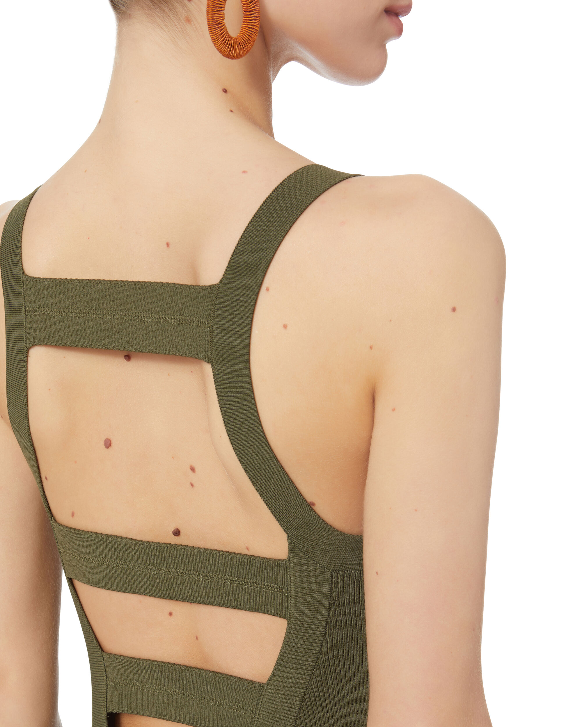 Visible Straps Knit Dress, OLIVE/ARMY, hi-res