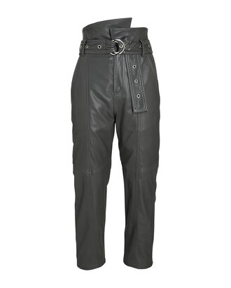 Anniston Cropped Leather Pants, GREY, hi-res