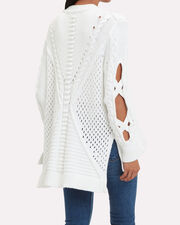 Cable Knit Oversized Cardigan, WHITE, hi-res