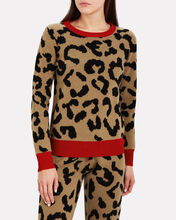 Aether Leopard Cashmere-Wool Pullover, BROWN/LEOPARD, hi-res