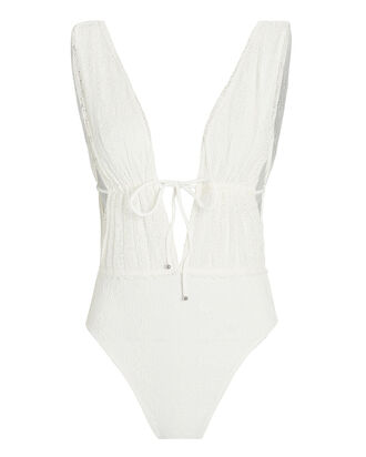Shelly Lace-Up One-Piece Swimsuit, WHITE, hi-res