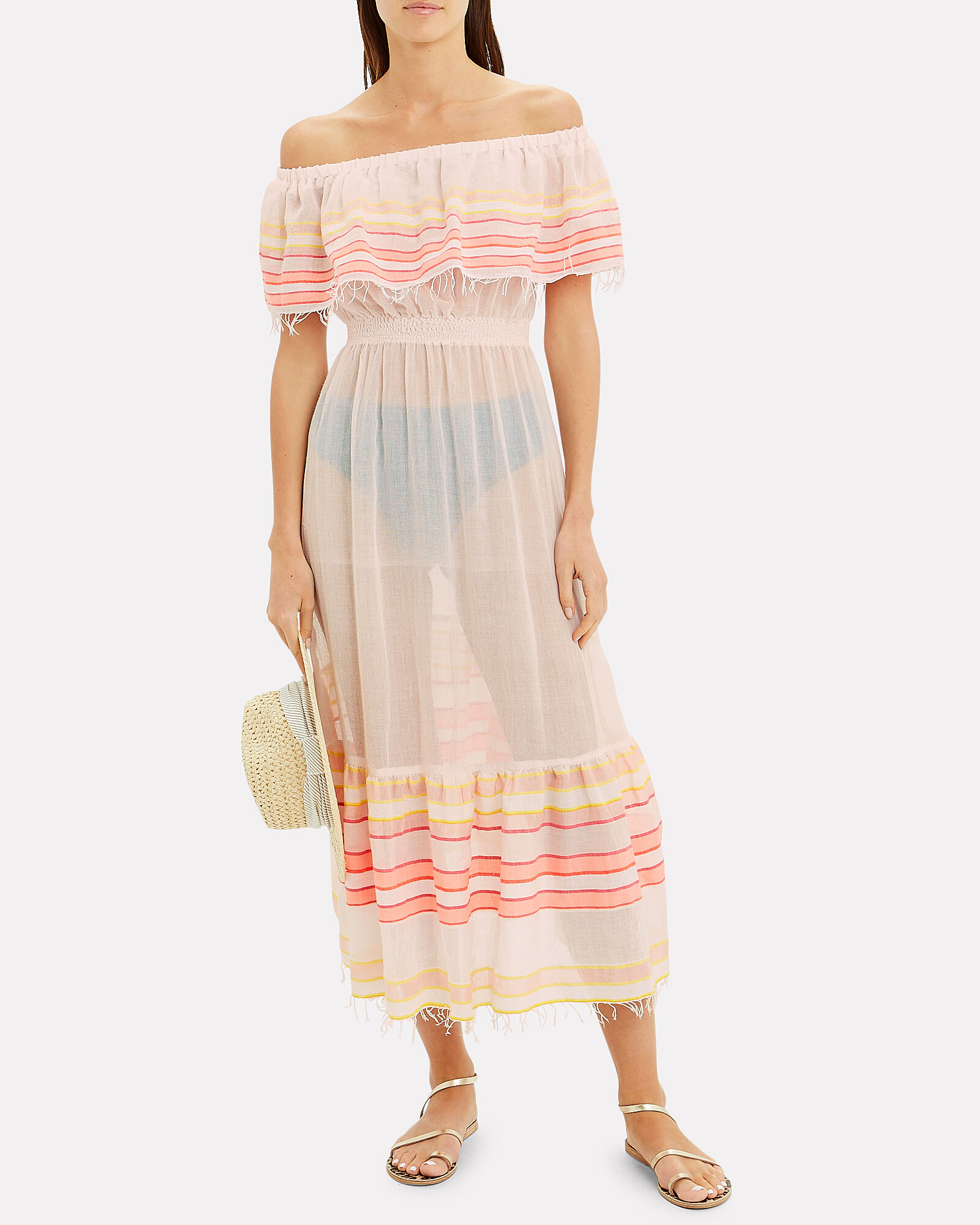 Eskedar Off-The-Shoulder Striped Dress, MULTI, hi-res