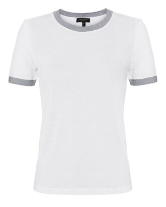 Brighton Metallic Trim Tee, WHITE, hi-res