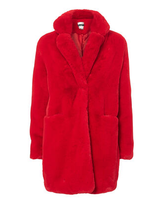 Sophie Red Faux Fur Coat, RED, hi-res