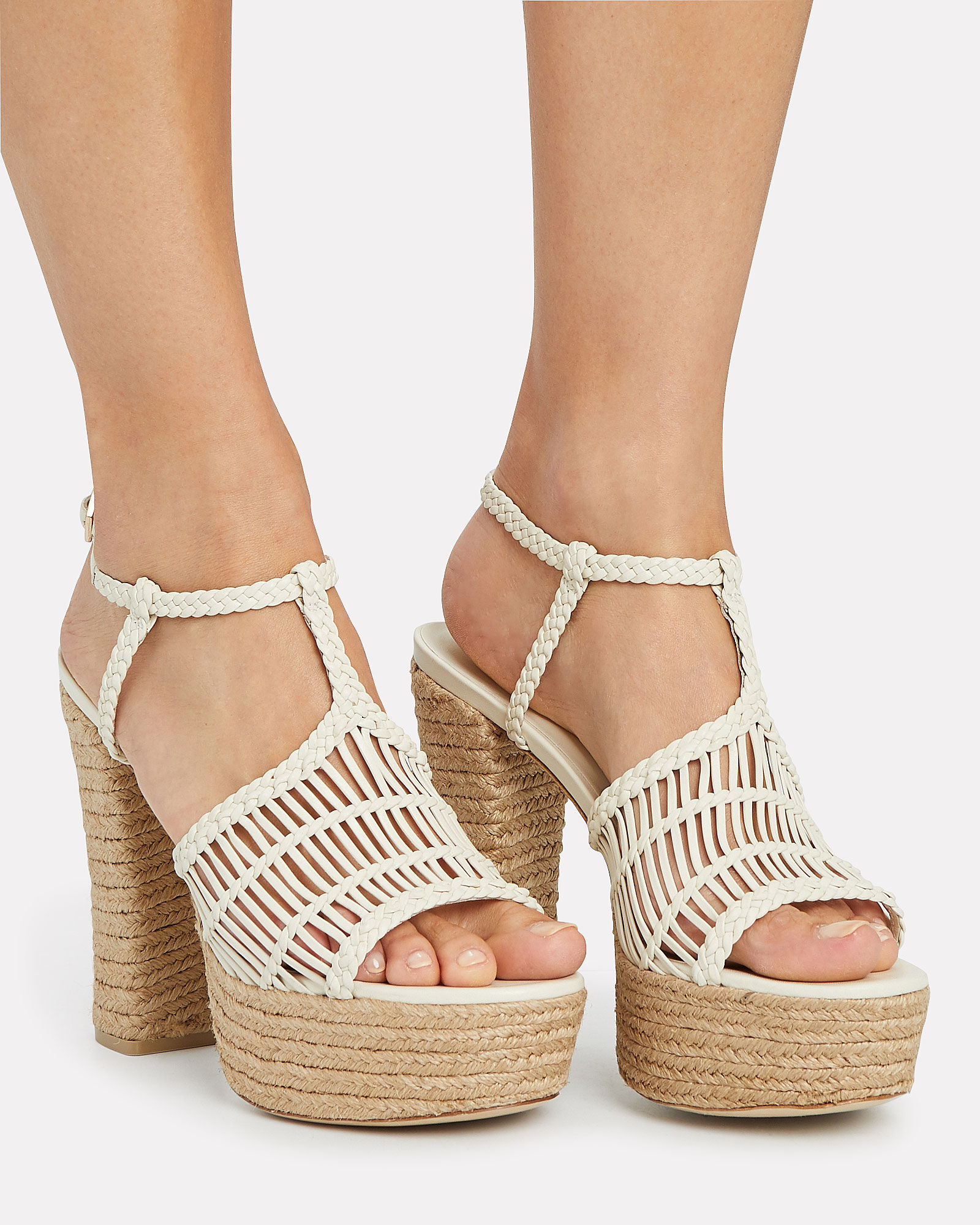 Thea Woven Leather Espadrille Sandals, WHITE, hi-res