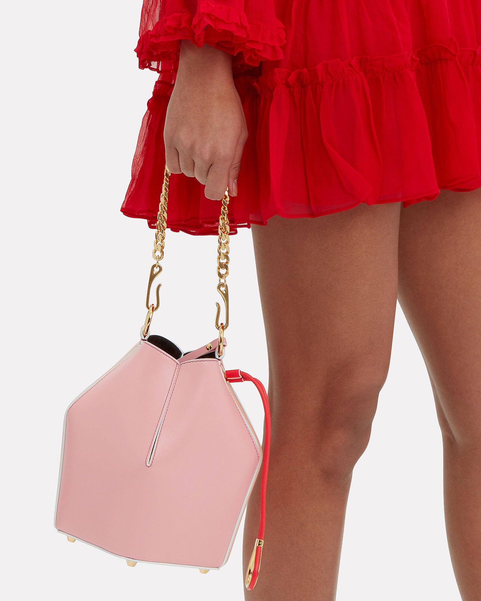 Pink Leather Small Bucket Bag, PINK, hi-res
