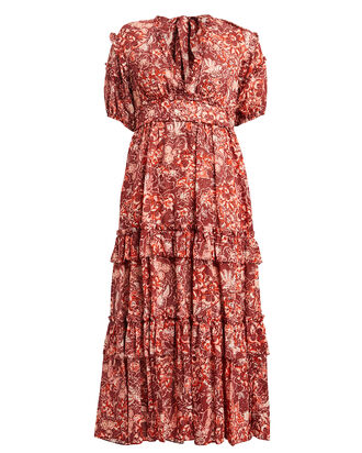 Amora Tiered Floral Maxi Dress, CORAL, hi-res