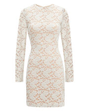 Ivory Sweater Lace Dress, IVORY, hi-res