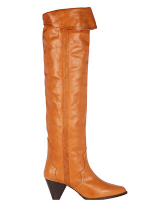 Remko Knee-High Leather Boots, BROWN, hi-res