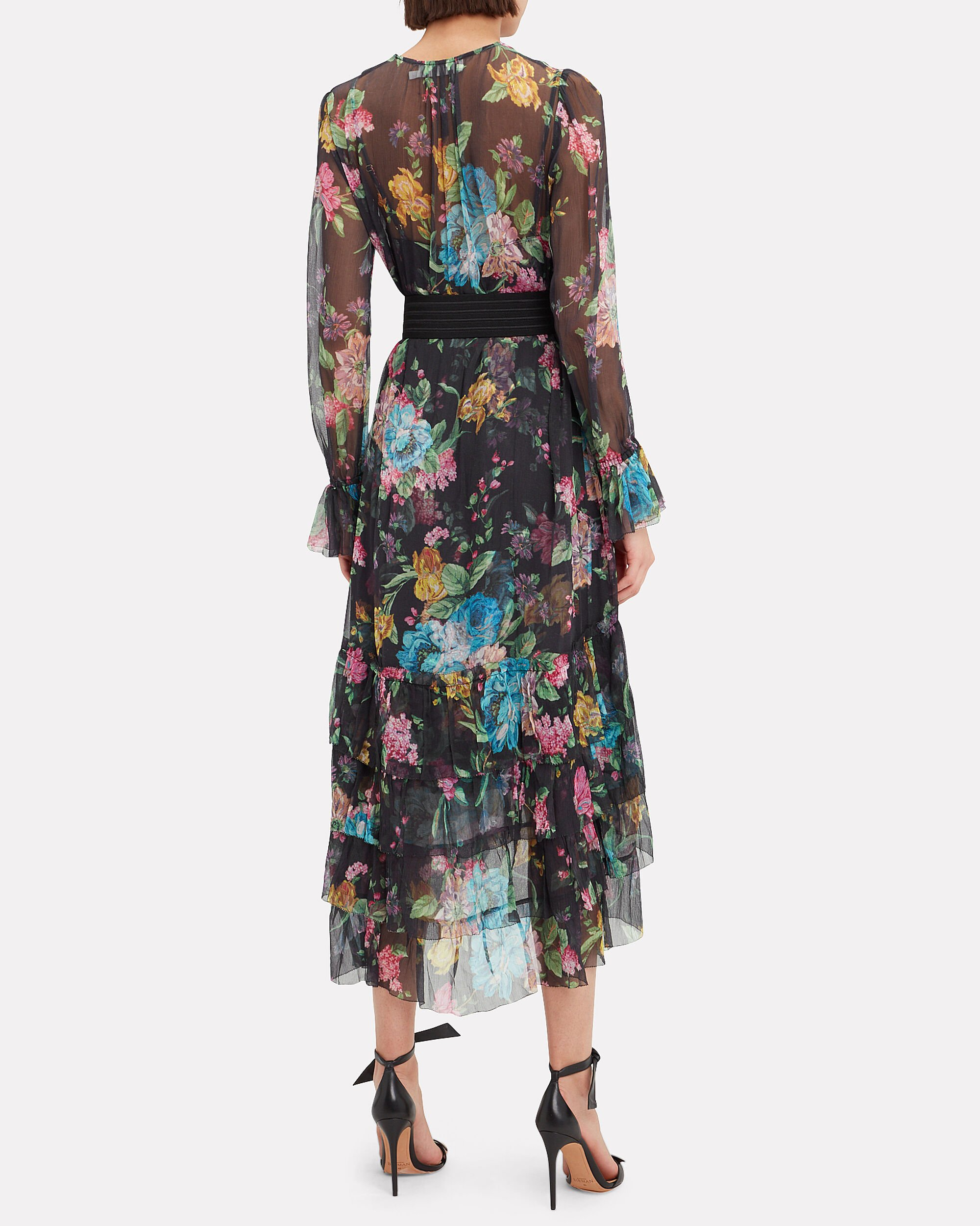 Ninety-Six Floral Frill Dress, BLACK FLORAL, hi-res