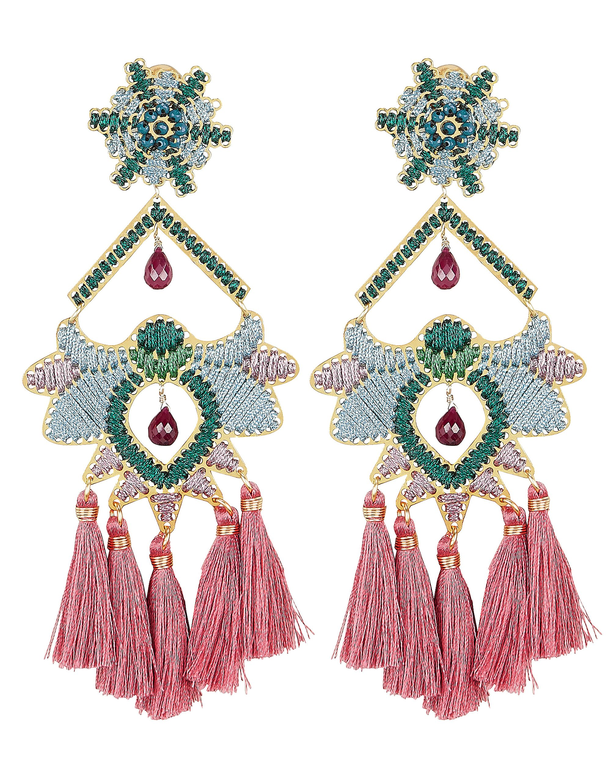Rose Paramo Flower Earrings, TURQUOISE/PINK, hi-res