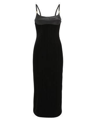 Strapless Velvet Bustier Dress, BLACK, hi-res