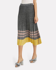 Pleated Lurex Knit Skirt, METALLIC SILVER, hi-res