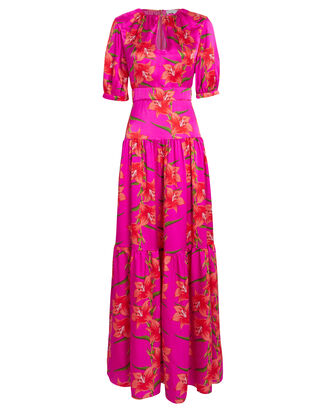 Alma Silk Hawaiian Lily Dress, FUCHSIA/FLORAL, hi-res
