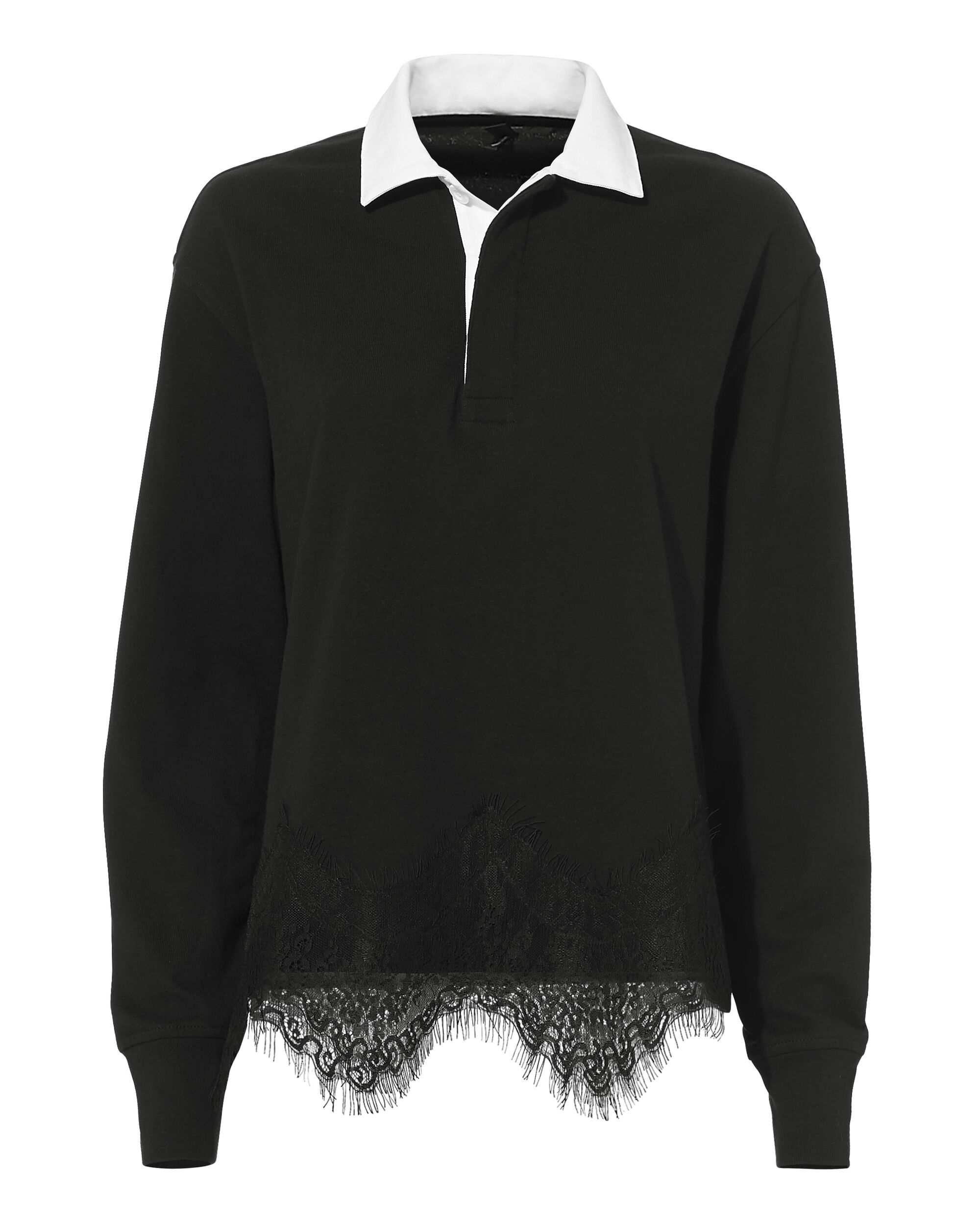 Lace Rugby Top, BLACK, hi-res
