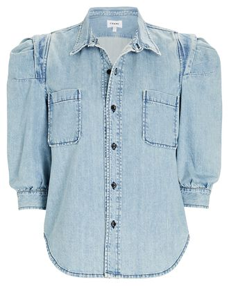 Rosette Denim Puff Sleeve Shirt, LIGHT WASH DENIM, hi-res