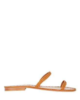 Salam Raffia Flat Slide Sandals, BROWN, hi-res