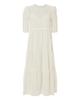 Tea Length White Dress, WHITE, hi-res