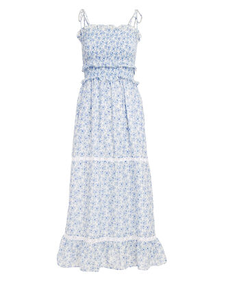 Luna Tie Shoulder Maxi Dress, BLUE FLORAL, hi-res