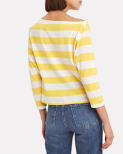 Exposed Shoulder Long Sleeve Top, YELLOW/WHITE/STRIPES, hi-res