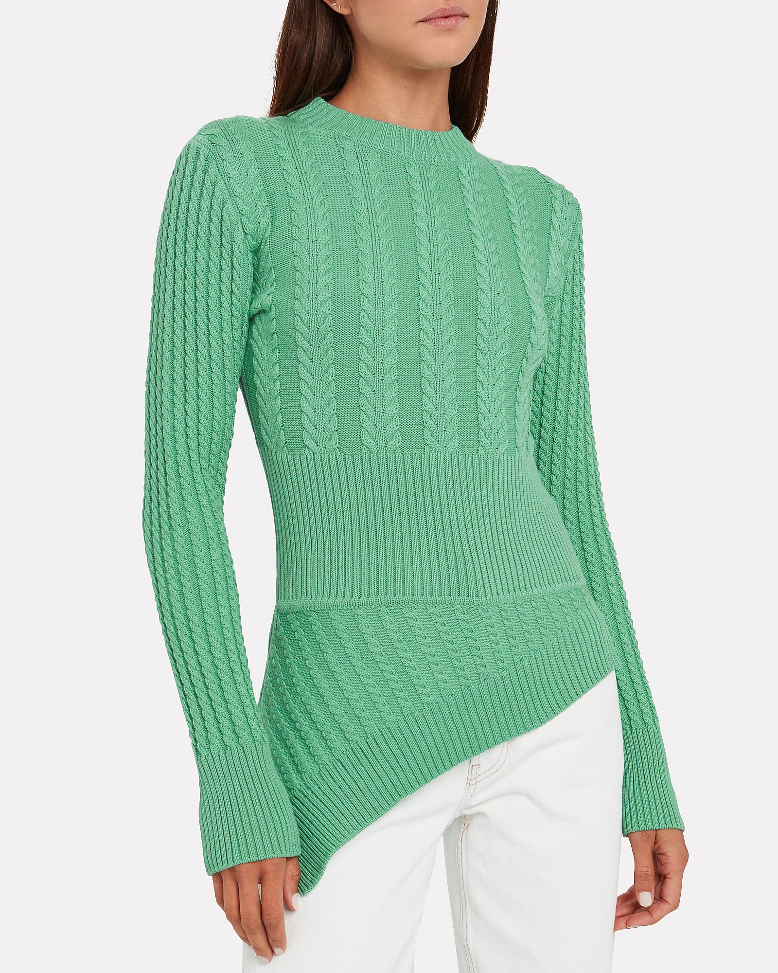 The Rufus Merino Cable Sweater, GREEN, hi-res