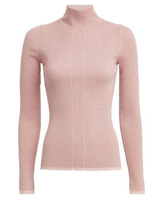 Ribbed Lurex Wool-Blend Turtleneck Top, PINK, hi-res
