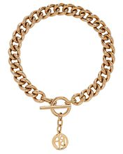 Small Chain-Link Logo Necklace, GOLD, hi-res