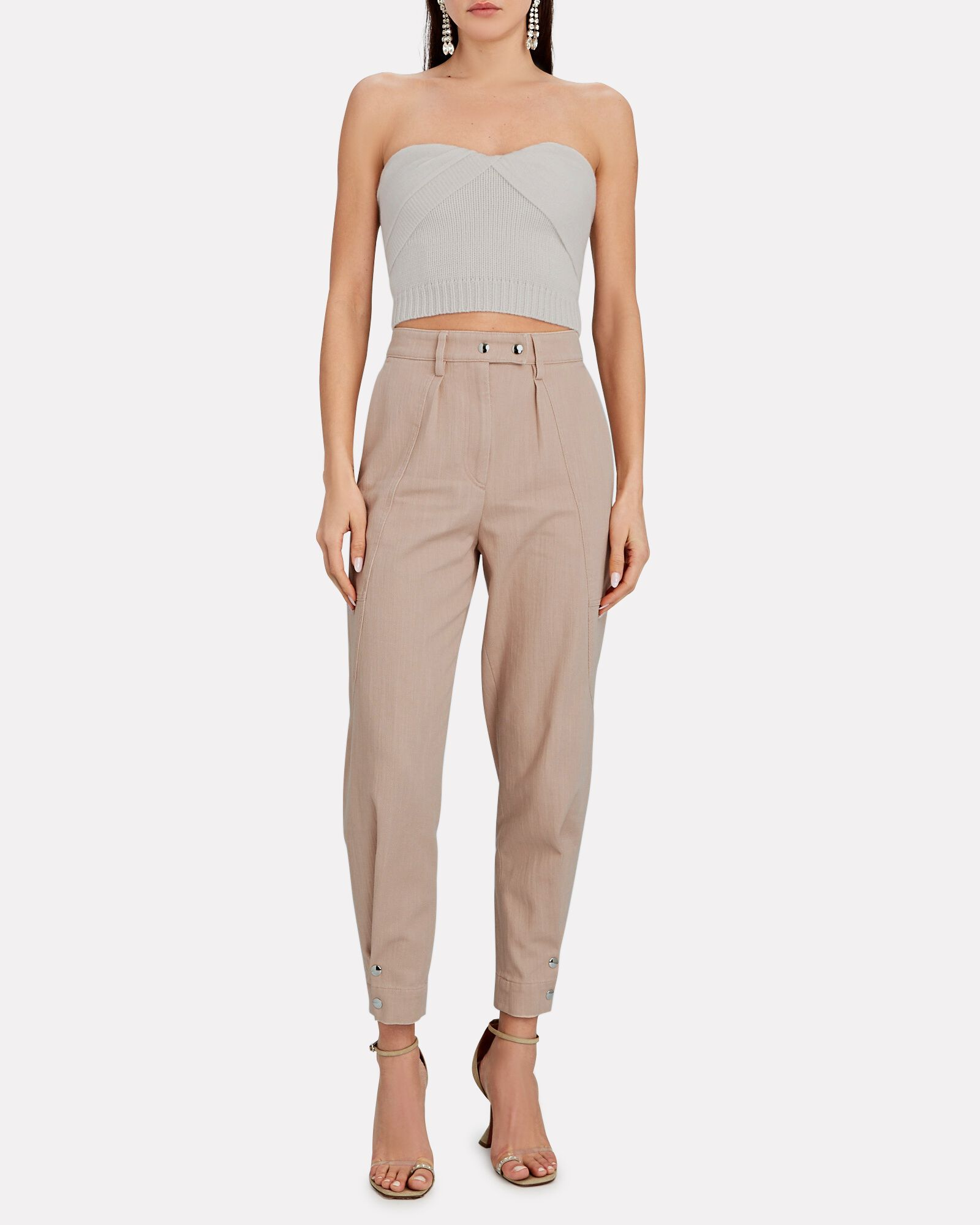 Viklay High-Rise Cotton Trousers, PALE PINK, hi-res