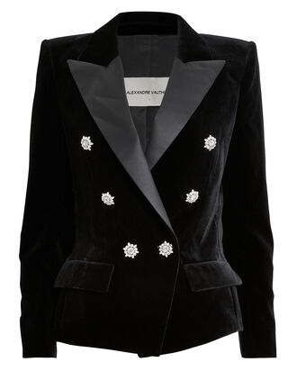 Satin Trim Double-Breasted Velvet Blazer, BLACK, hi-res