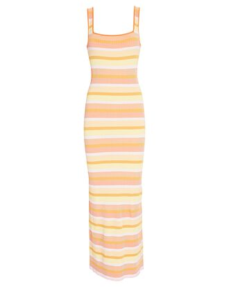 Kimberly Striped Rib Knit Tank Dress, YELLOW/ORANGE/WHITE, hi-res