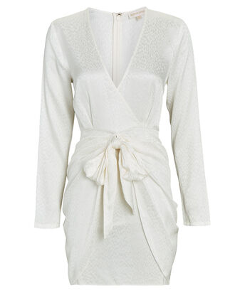 Marissa Tie-Waist Jacquard Mini Dress, WHITE, hi-res