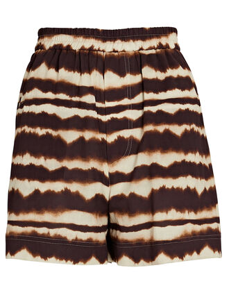 Madrid Tie-Dye Cotton Shorts, BROWN/BEIGE, hi-res