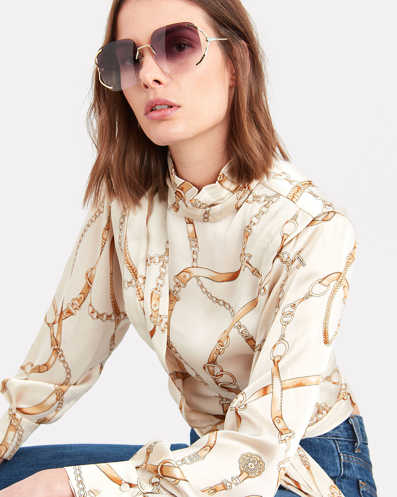 Oversized Square Sunglasses, GOLD/VIOLET, hi-res