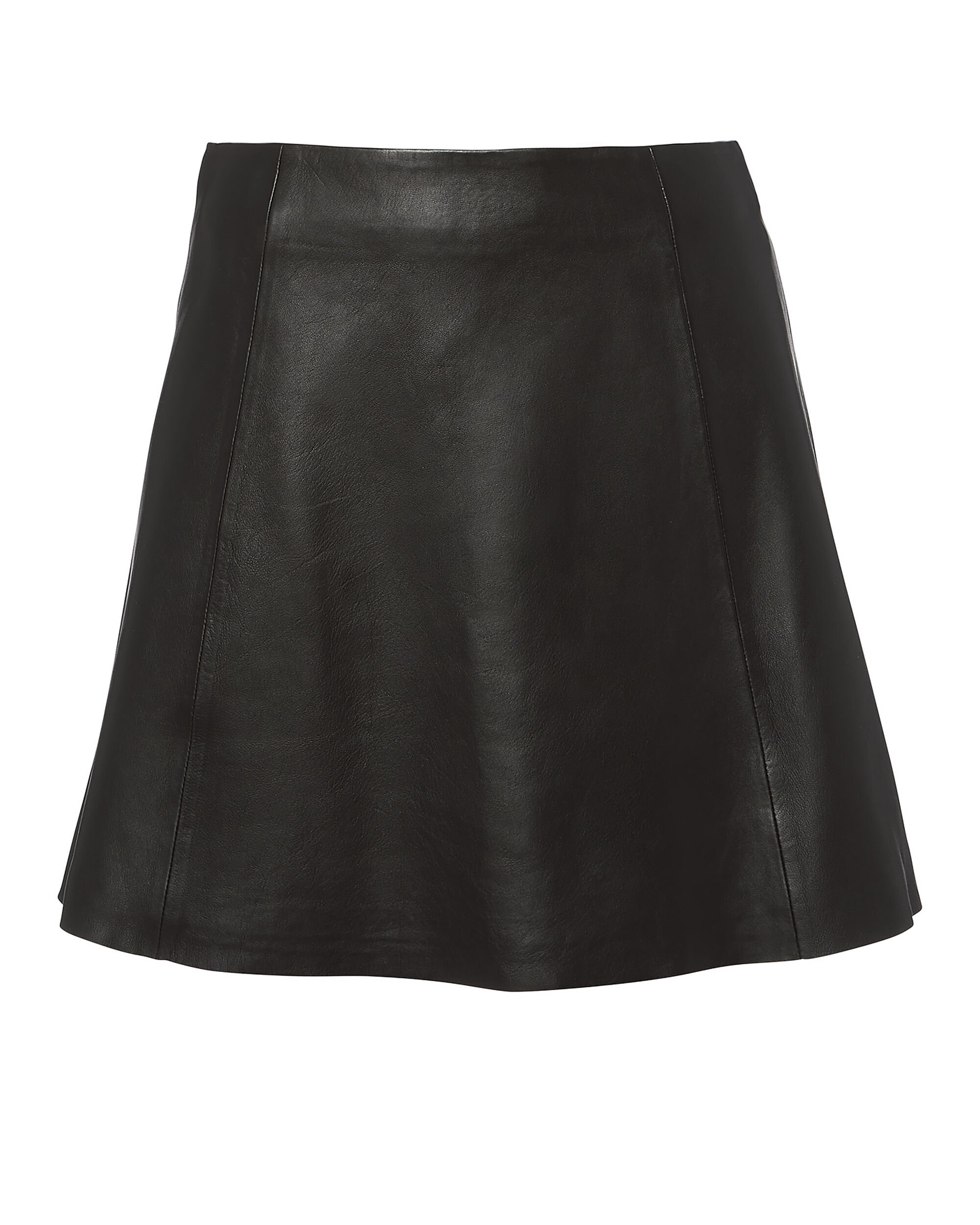 Circle Leather Mini Skirt, BLACK, hi-res