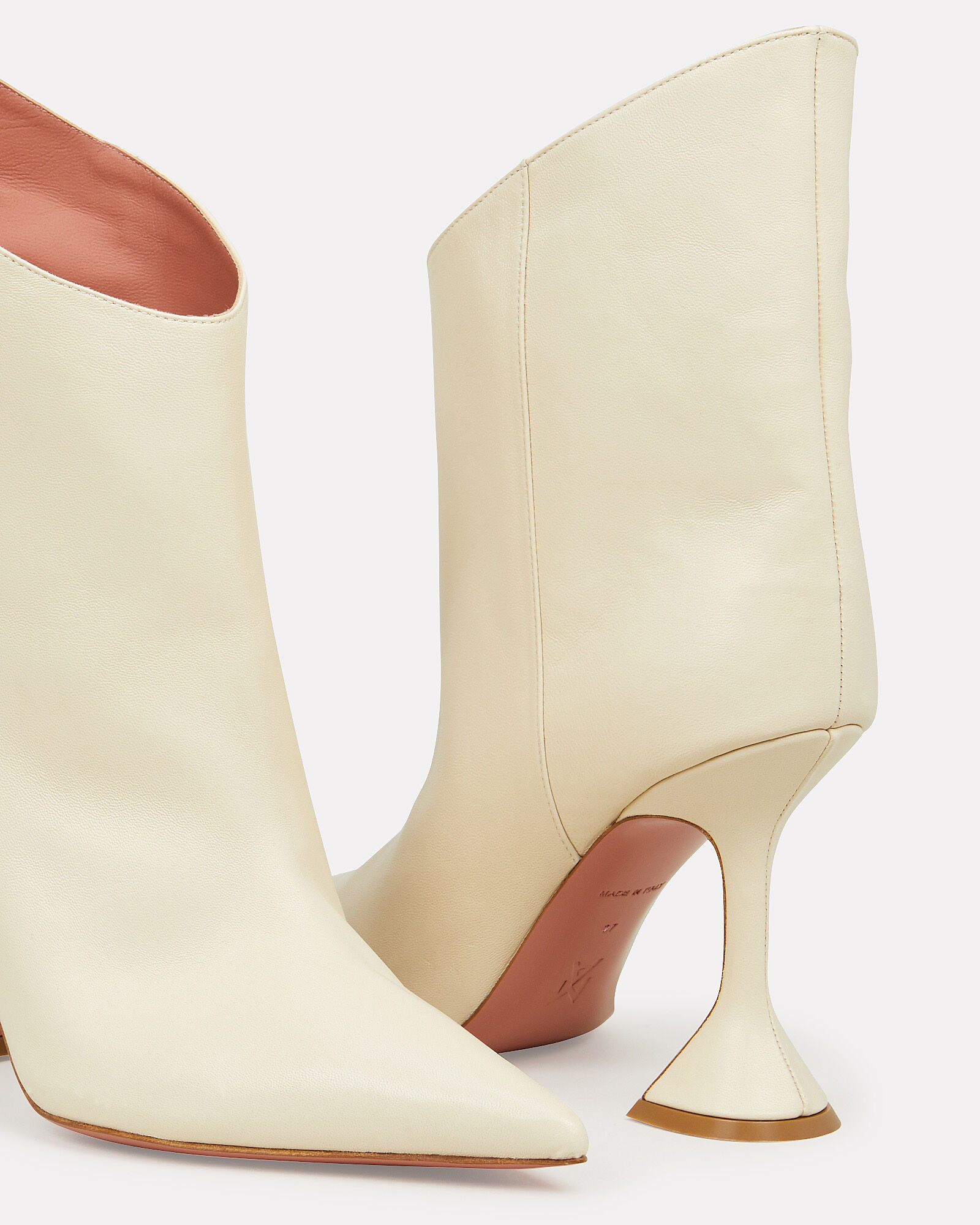 Iman Asymmetrical Leather Booties, IVORY, hi-res