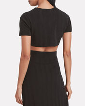 Knit Tie Front Crop Top, BLACK, hi-res